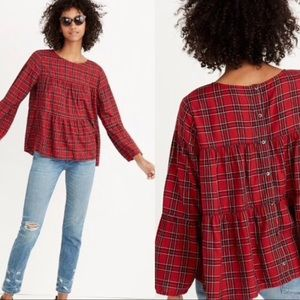 Madewell Plaid Tiered Button Back Shirt